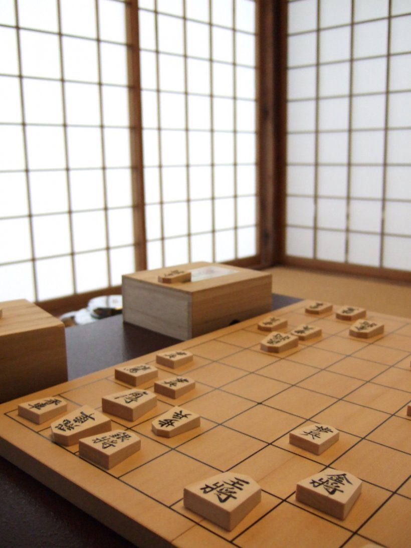 Shogi game in the tea ceremony room.