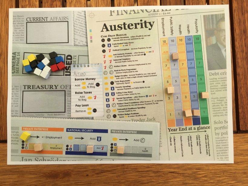 Versione base del gioco da tavolo fai da te Austerity