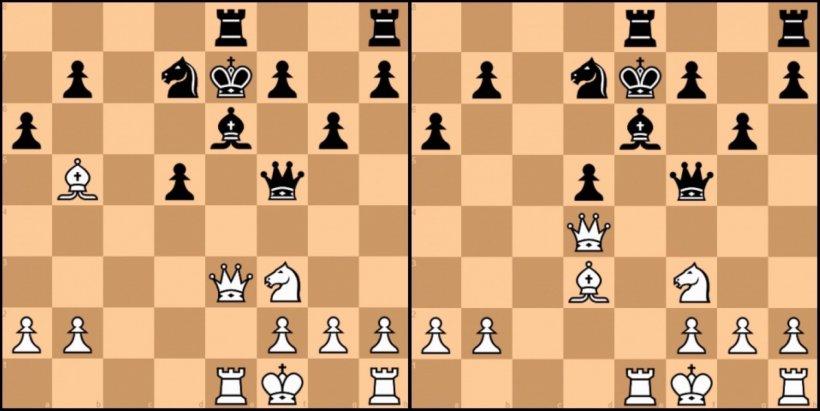 Dalla mossa 18 alla 22: in mezzo ci sono quattro mosse in cui il nero subisce l'attacco del bianco.
