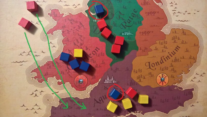 se invece anche il giallo è un colore avverso, piazzate i rossi a sud, a pareggiare i gialli e prelevate uno dei due cubi blu cerchiati