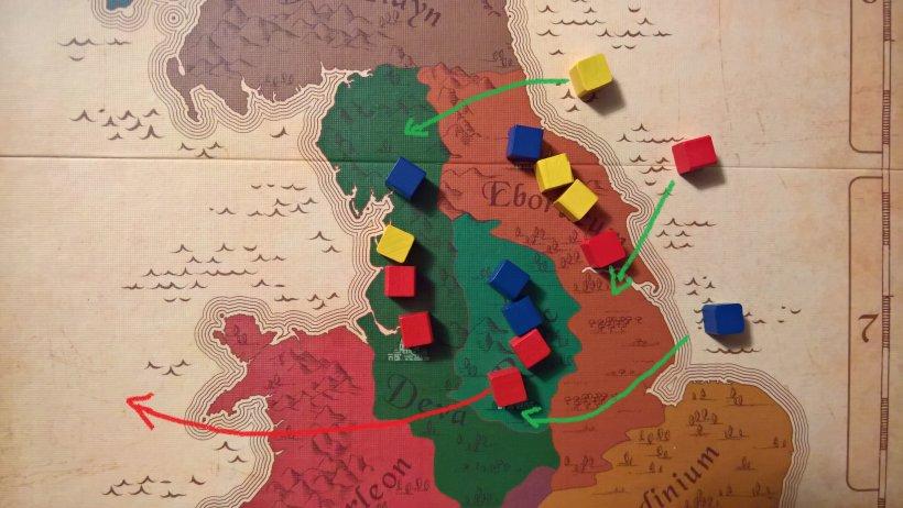 se giallo e rosso sono colori per cui non correte, piazzateli in pareggio. Piazzando poi il blu (il vostro colore) e prelevando il rosso, vi assicurate una regione.... per ora