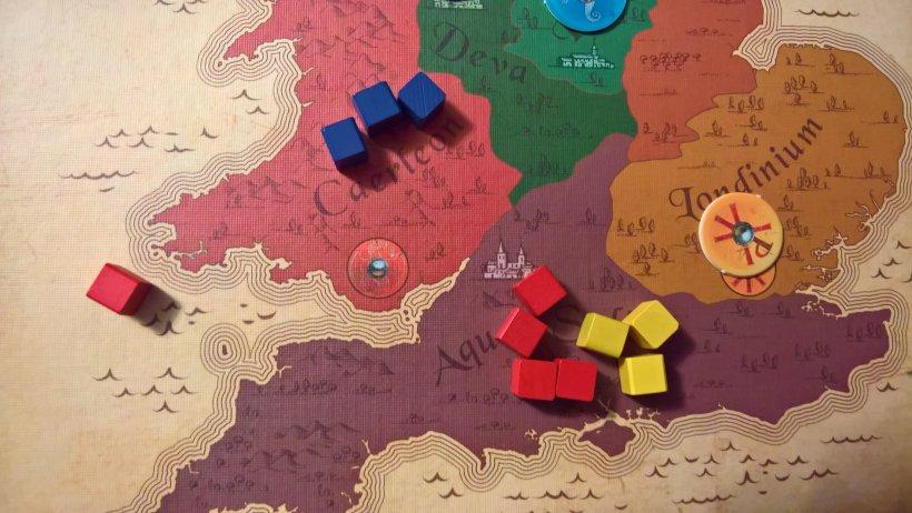 giocando la carta che mette un cubo per colore e prelevando il rosso, fa rimanere inalterata la situazione per gialli e rossi, aumenta il suo controllo sul rosso a scapito degli avversari e favorisce il colore di squadra, il blu