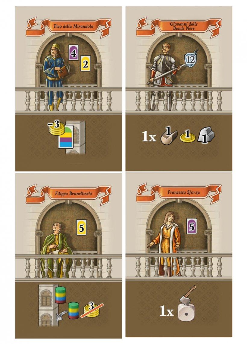 Le carte personaggio del gioco Lorenzo il Magnifico