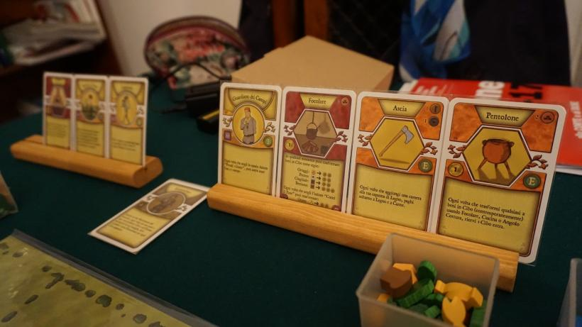Mano di carte durante la partita di Agricola