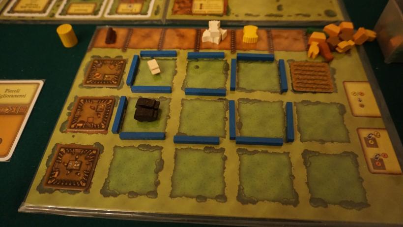 Plancia di un giocatore al nono turno di una partita di Agricola