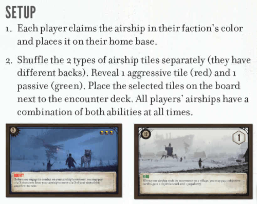 Scythe: The Wind Gambit: carte setup