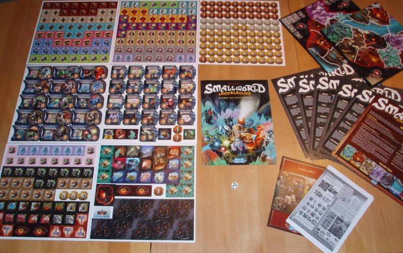 Componenti del gioco da tavolo della Days of Wonder Small World Underground