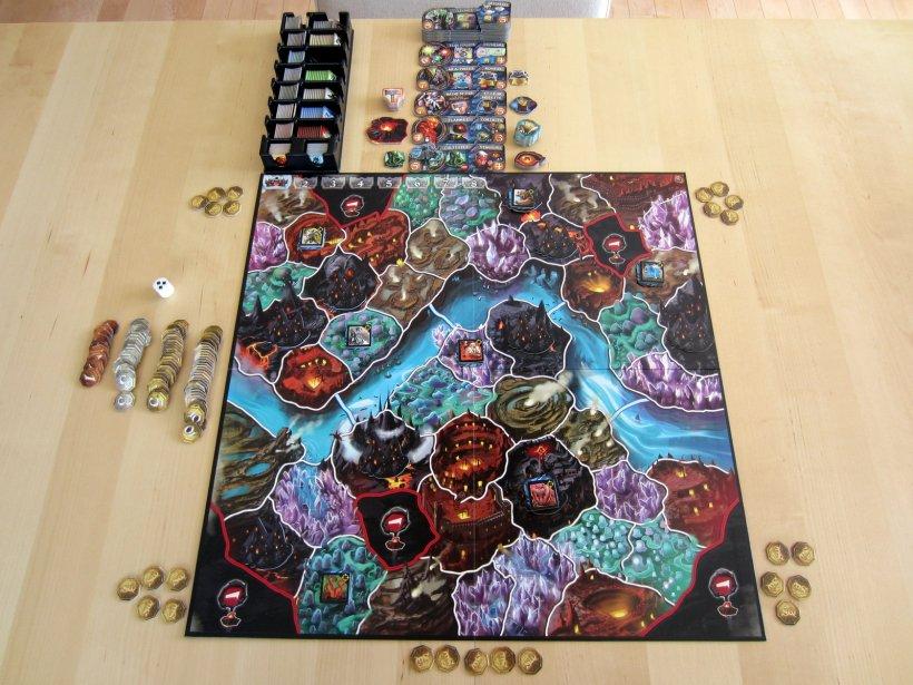 Setup per 5 giocatori di Small World Underground
