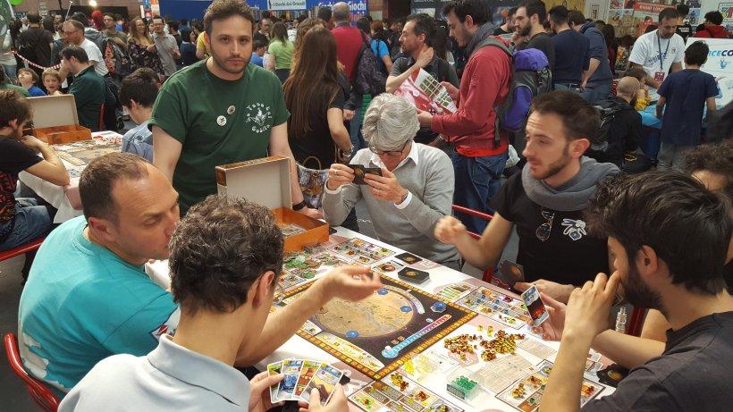 Partita in corso a Terraforming Mars nell'area Goblin Magnifico di Play 2017