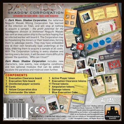 Dark Moon: Shadow Corporation: retro della scatola