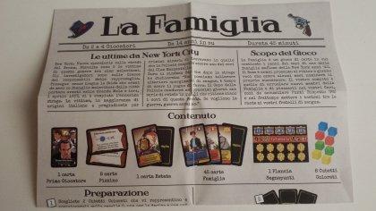 Il regolamento del gioco La Famiglia, stampato come un giornale dell'epoca