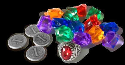 Indulgence: gemme (5 fiorini) e monete (1 fiorino)