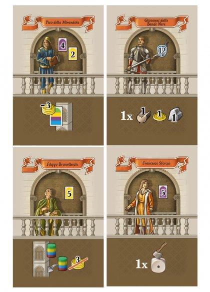 Personaggi del gioco in scatola Lorenzo il Magnifico