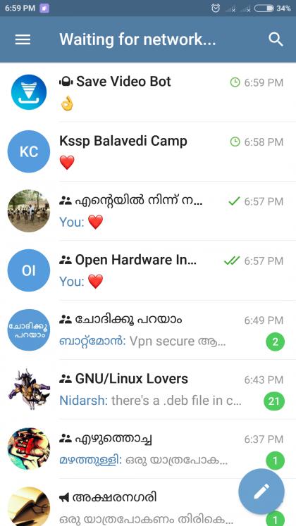Esempio di telegram su cellulare