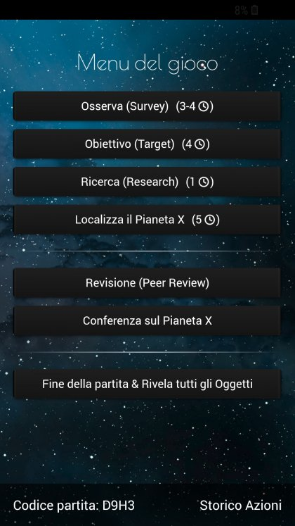 The Search for Planet X - scelta delle azioni sull'App