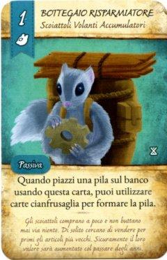 """Carta """"Bottegaio Risparmiatore"""" del gioco da tavolo La Valle dei Mercanti"""