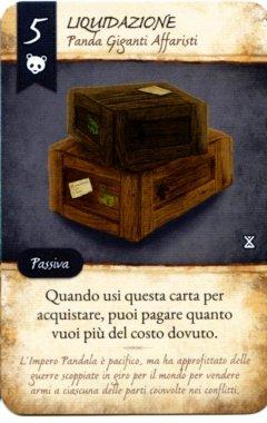 """Carta """"Liquidazione"""" del gioco da tavolo La Valle dei Mercanti"""