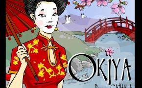 Copertina di Okiya, il gioco da tavolo per due giocatori di Bruno Cathala