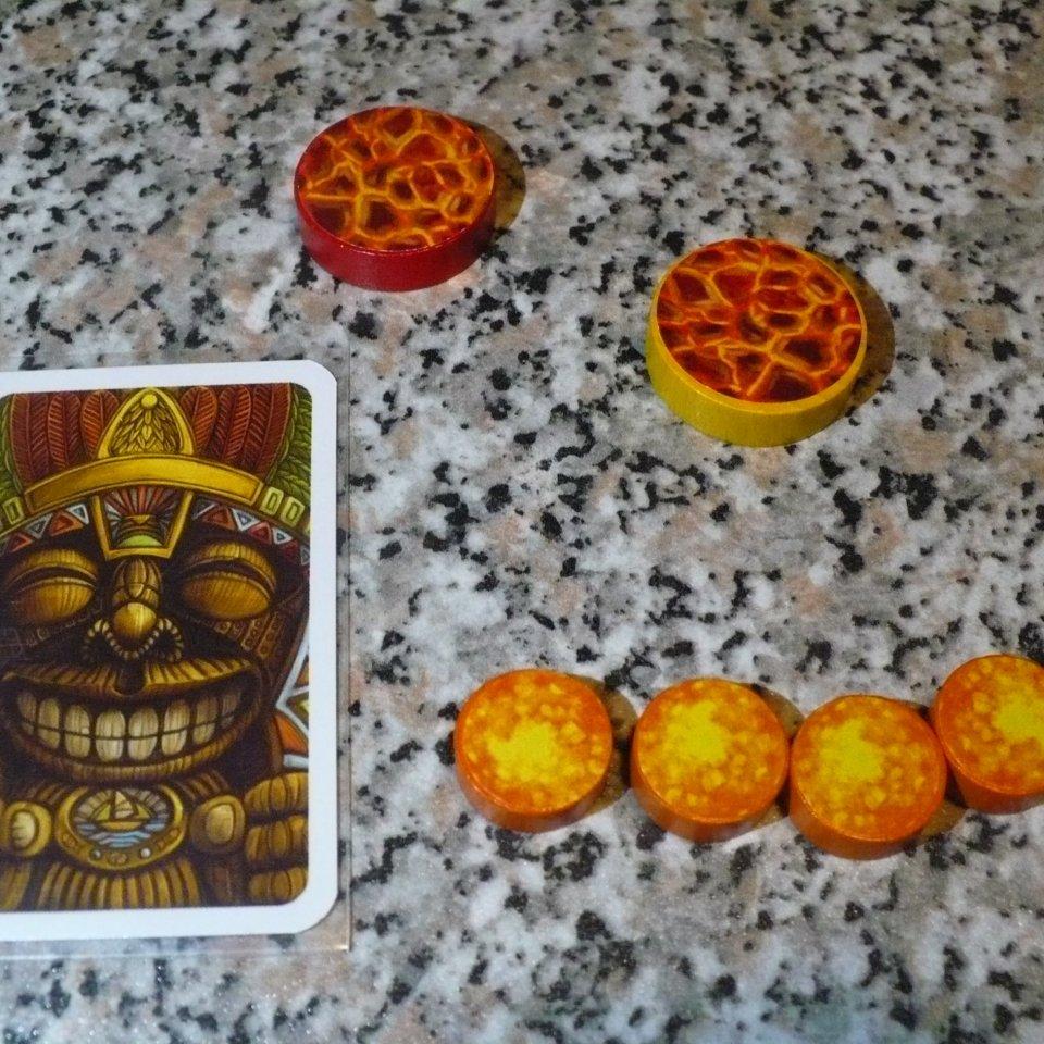 Stromboli: carta prima giocatore, segnalini e dischetti lava